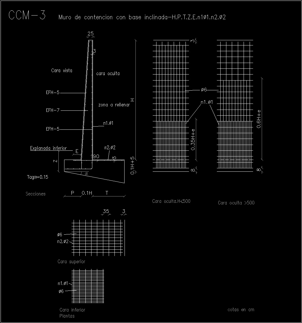 Contention Walls DWG Detail For AutoCAD