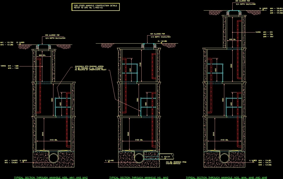 Deep Manhole Construction Details Dwg Detail For Autocad