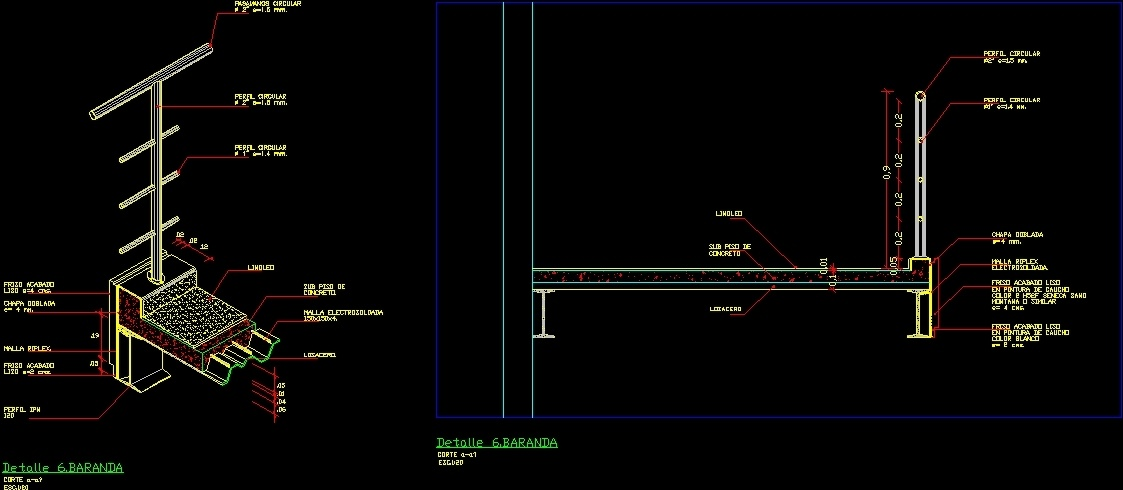 Detail Rail And Balcony Dwg Detail For Autocad Designs Cad