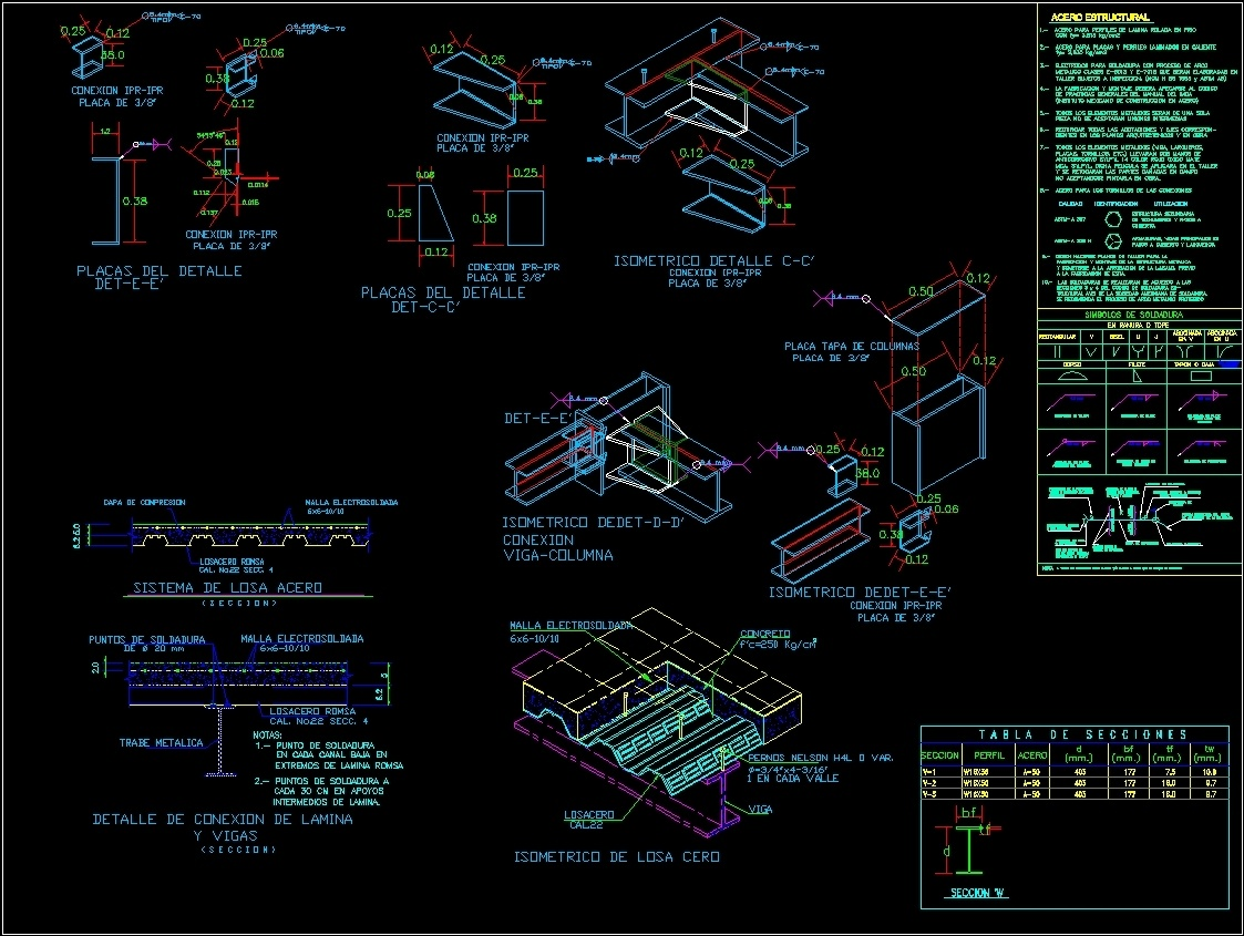 Detalles de losacero dwg block for autocad designs cad for Detalles dwg