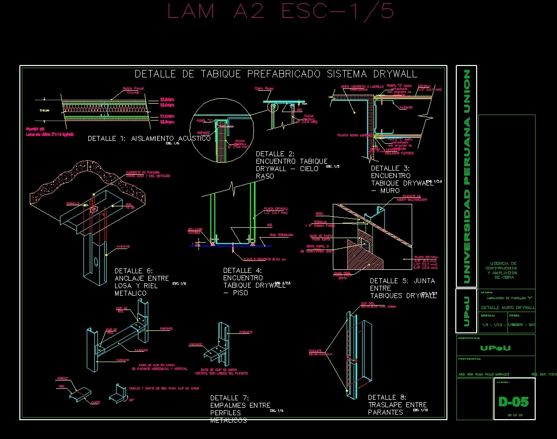 Drywall Detail 10 : Drywall wall detail dwg section for autocad designs cad