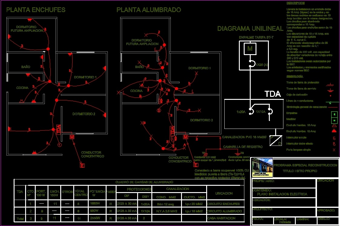 Circuito Unilineal : Electricity project unifamily housing dwg full project for autocad