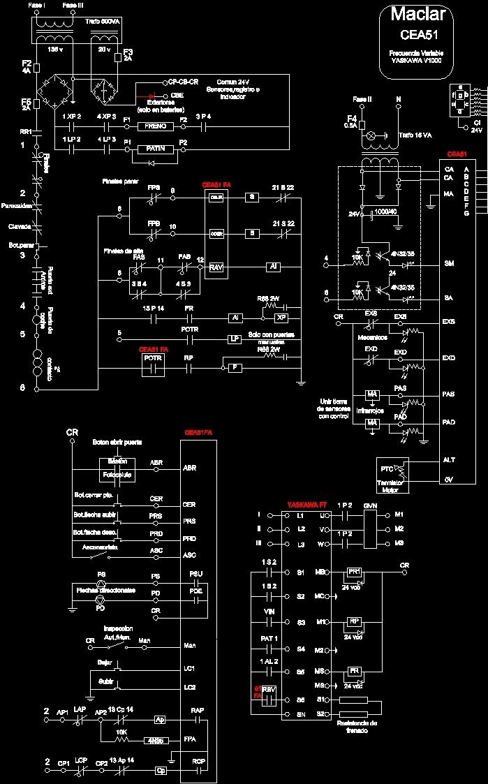 Elevator Wiring Panel Diagram  Maclar Control  Yascawa Motor Dwg Block For Autocad  U2013 Designs Cad