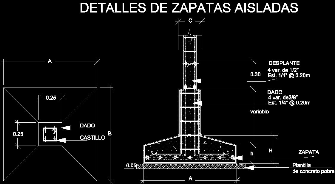 Isolated Zapata Dwg Block For Autocad Designs Cad