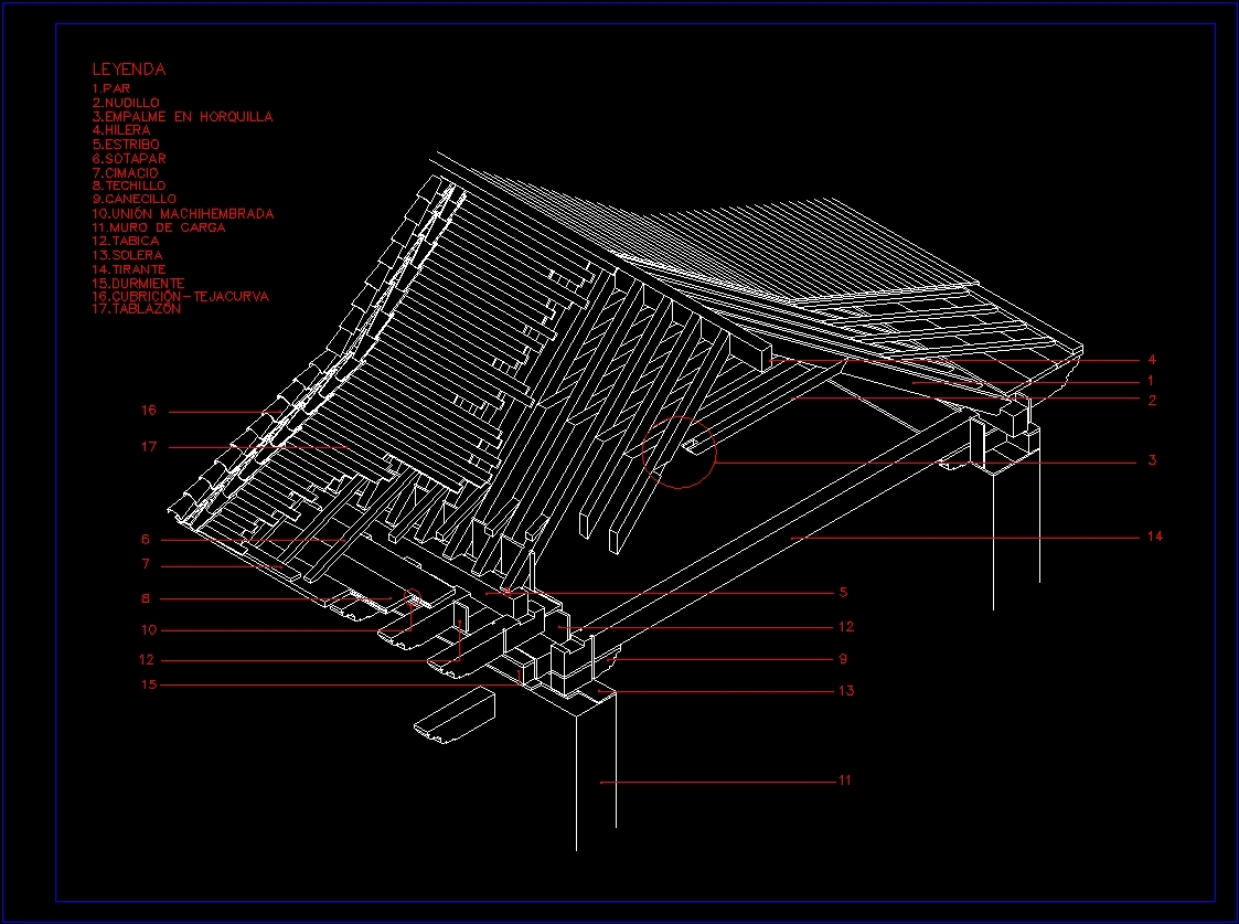 Isometric Detail Roof Knot Wood Appearance Dwg Detail