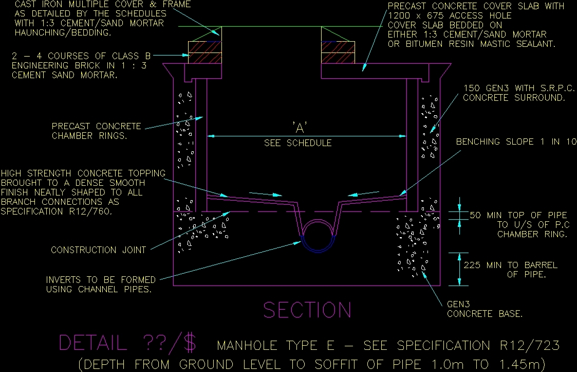 Drawing Smooth Lines In Autocad : Manhole details dwg detail for autocad u designs cad