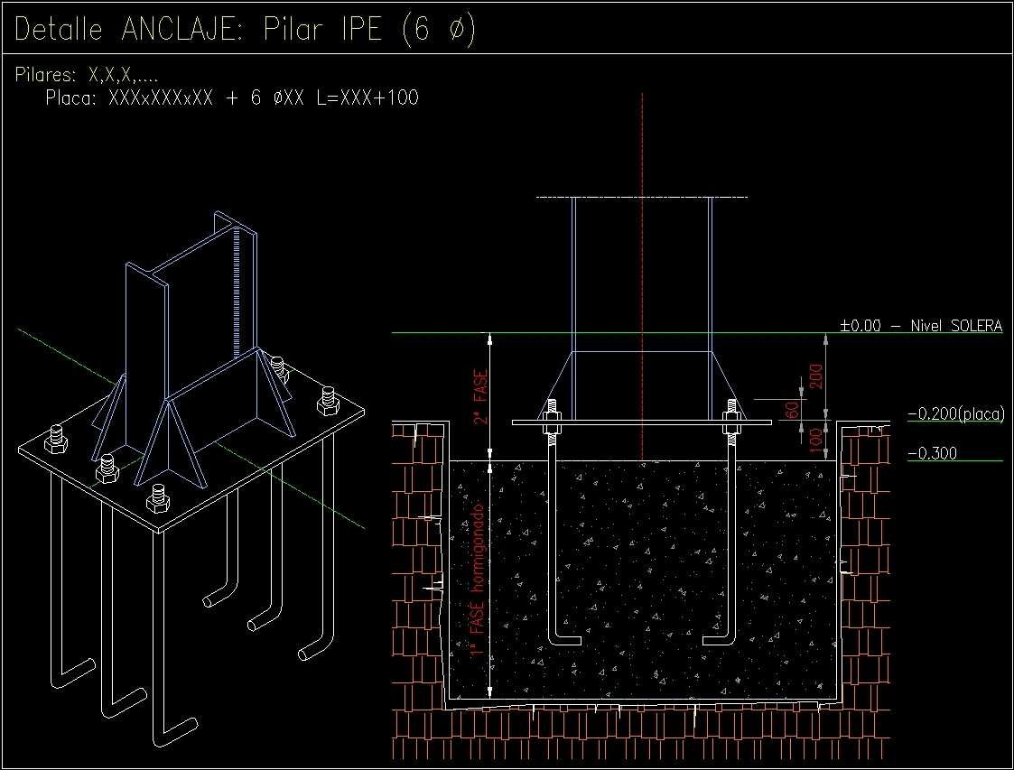 metal joinery column anchorage dwg block for autocad designs cad