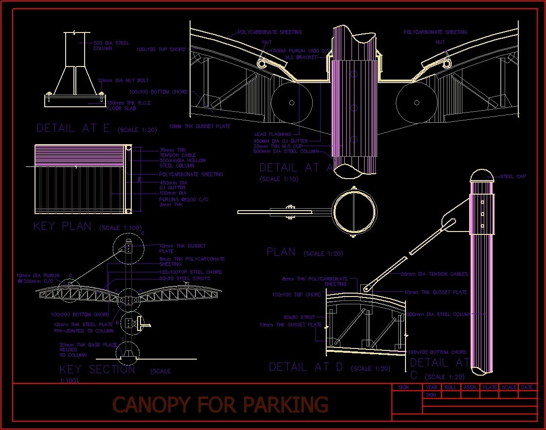 parking canopy detail dwg detail for autocad designs cad