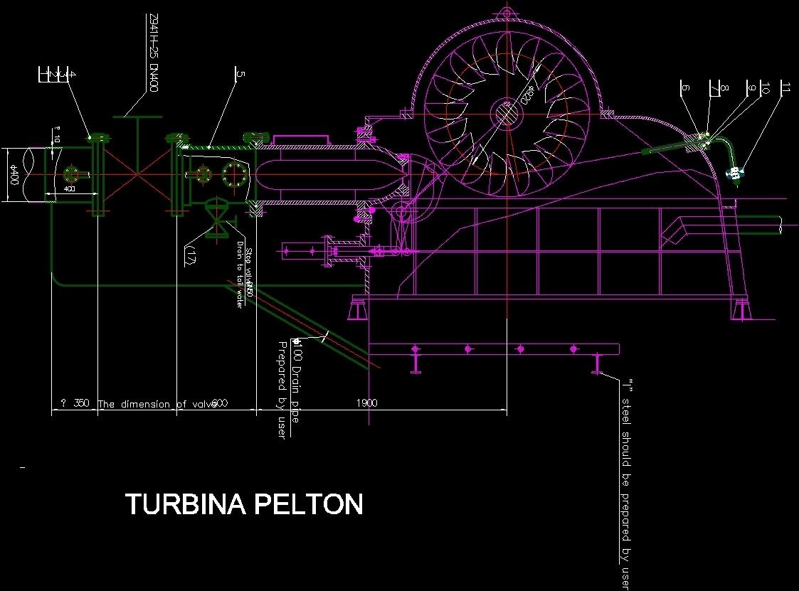 Pelton Turbine Installation Dwg Block For Autocad