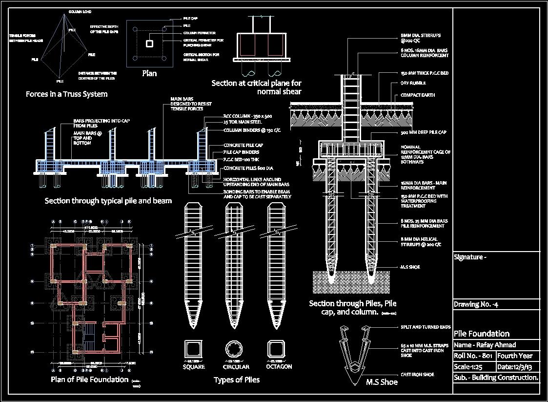 Pile Foundation Details Dwg Detail For Autocad Designs Cad