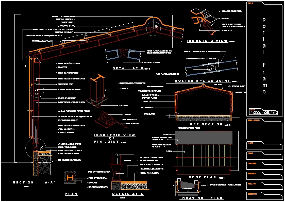 Portal Frame Dwg Section For Autocad Designs Cad