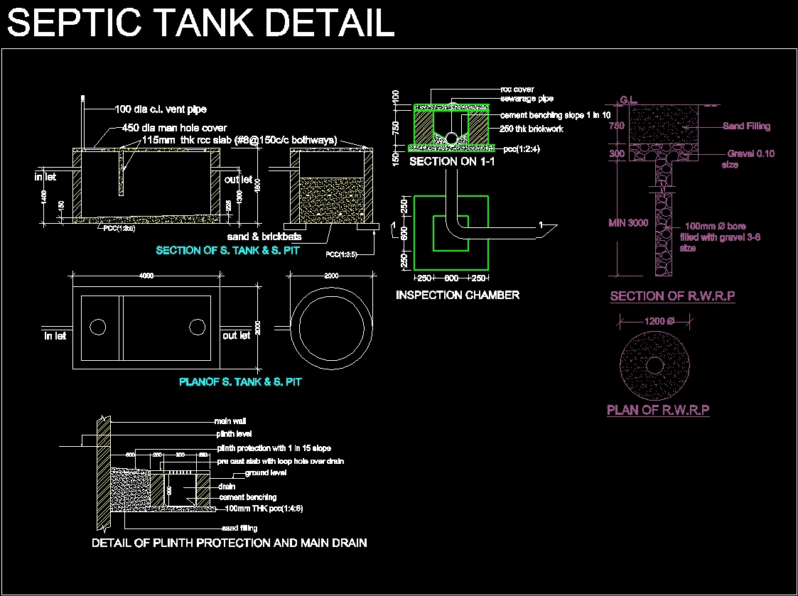 Septic Tank Detail Dwg Detail For Autocad Designs Cad