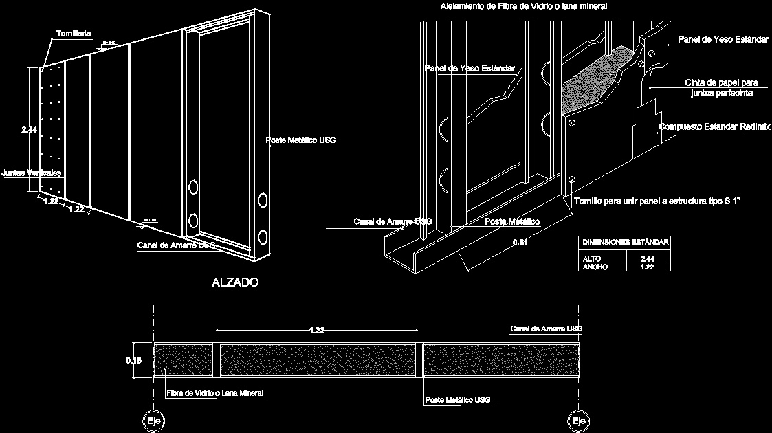 Sheetrock Drywall Wall Dwg Detail For Autocad Designs Cad