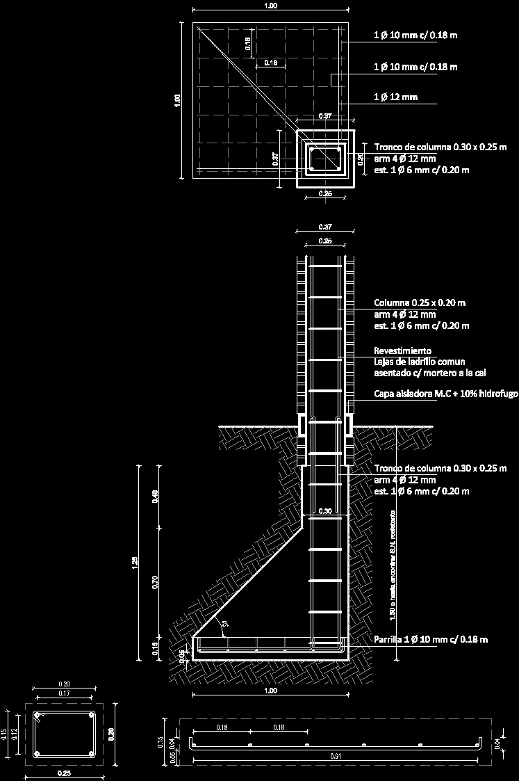Shoe And Column Construction Detail Dwg Detail For Autocad