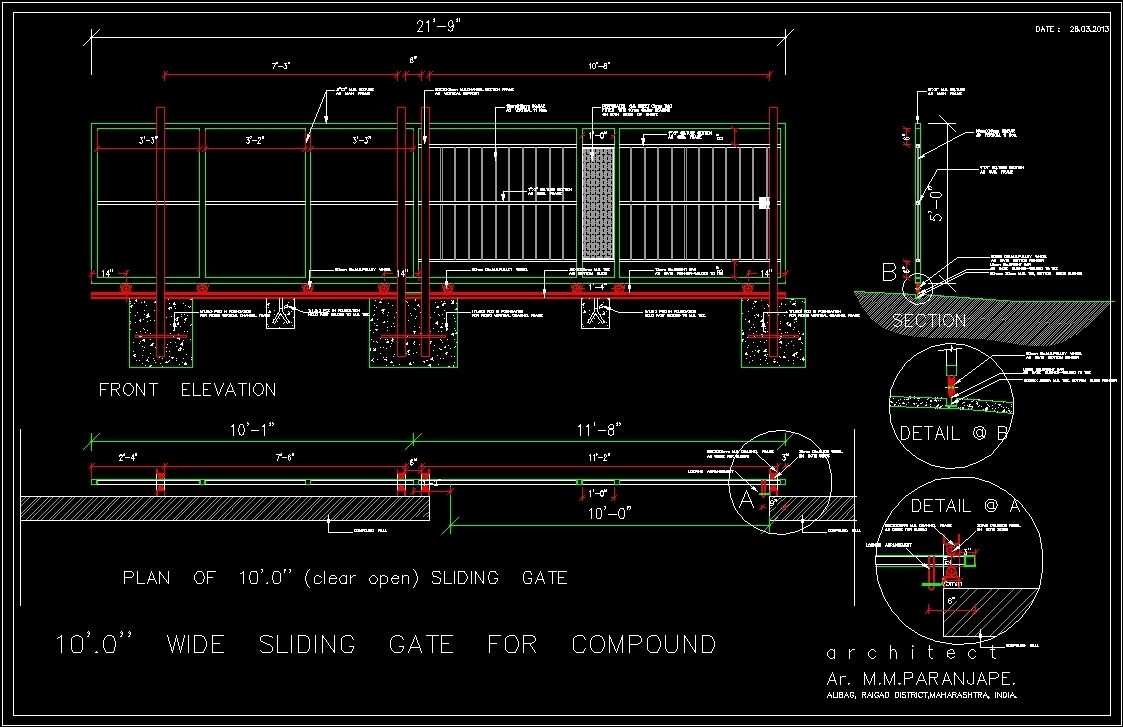 sliding gate 10 x 39 meters dwg detail for autocad