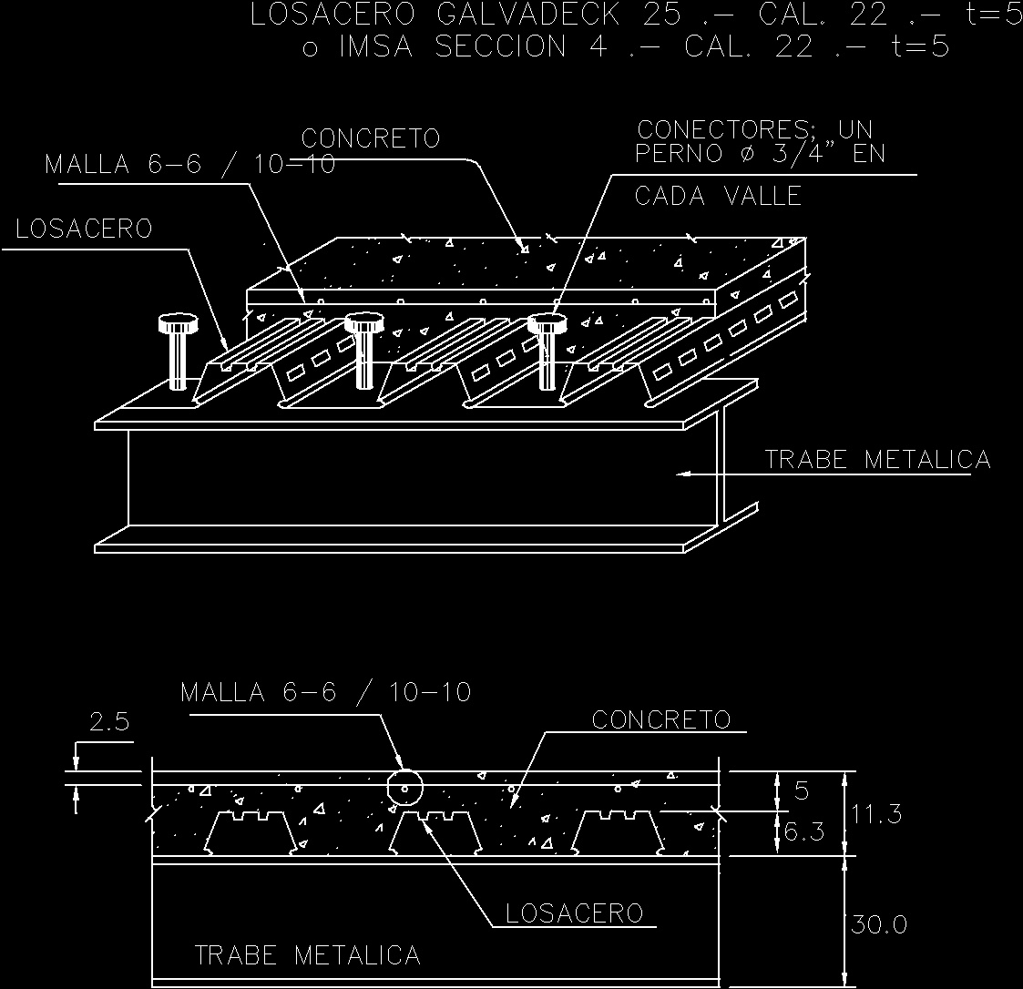 Specification Installation Losacero Dwg Detail For Autocad