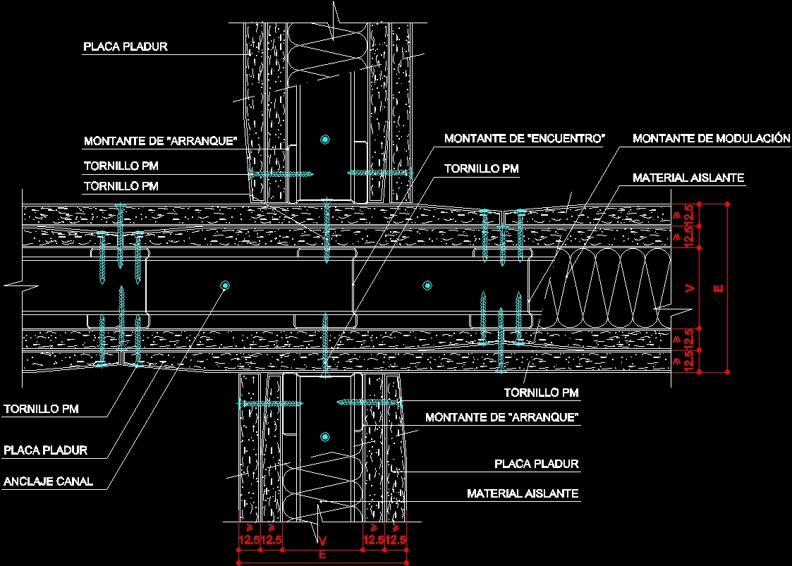 Stell Steel Frame Construction Joints And Drywall Dwg
