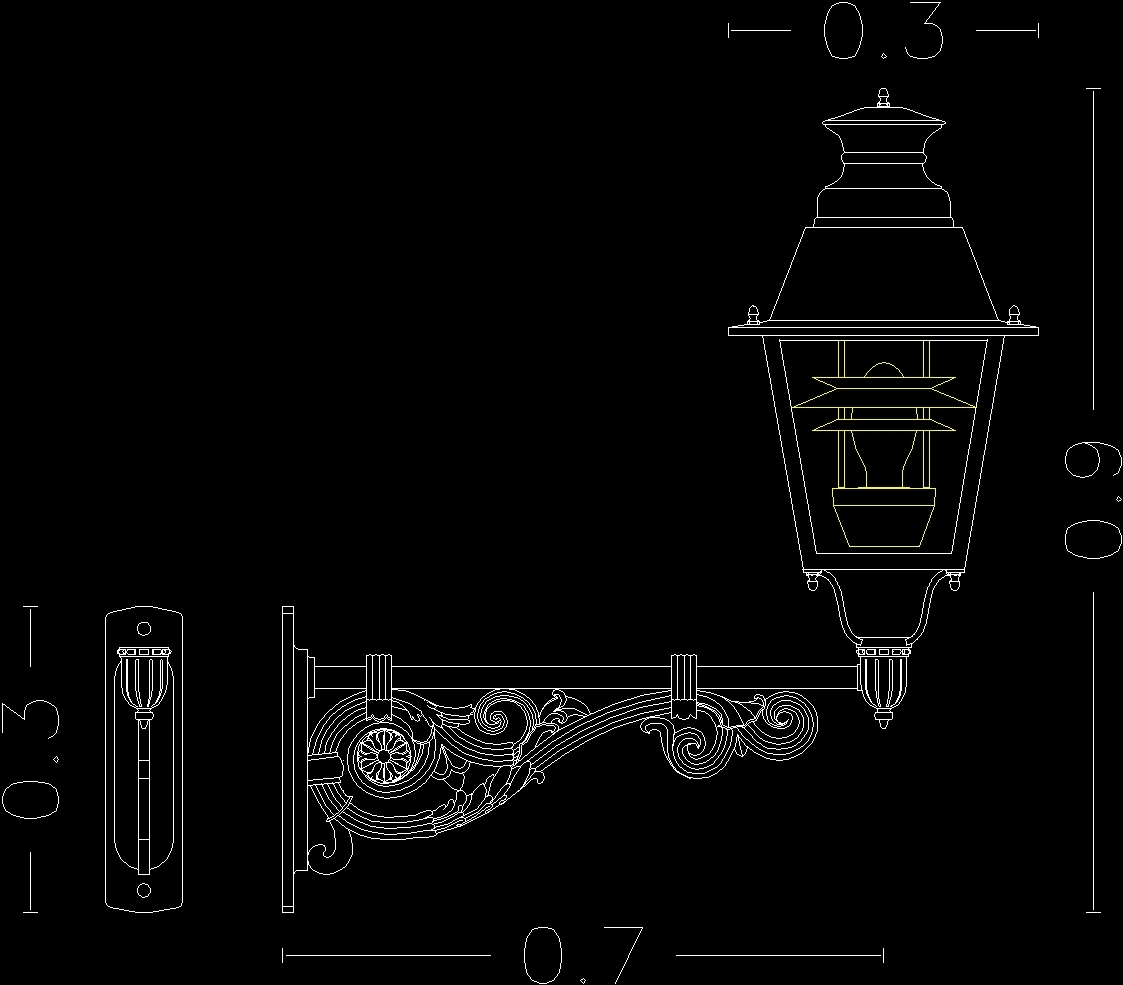 Streetlight village dwg model for autocad designs cad raw text data extracted from cad file arubaitofo Image collections