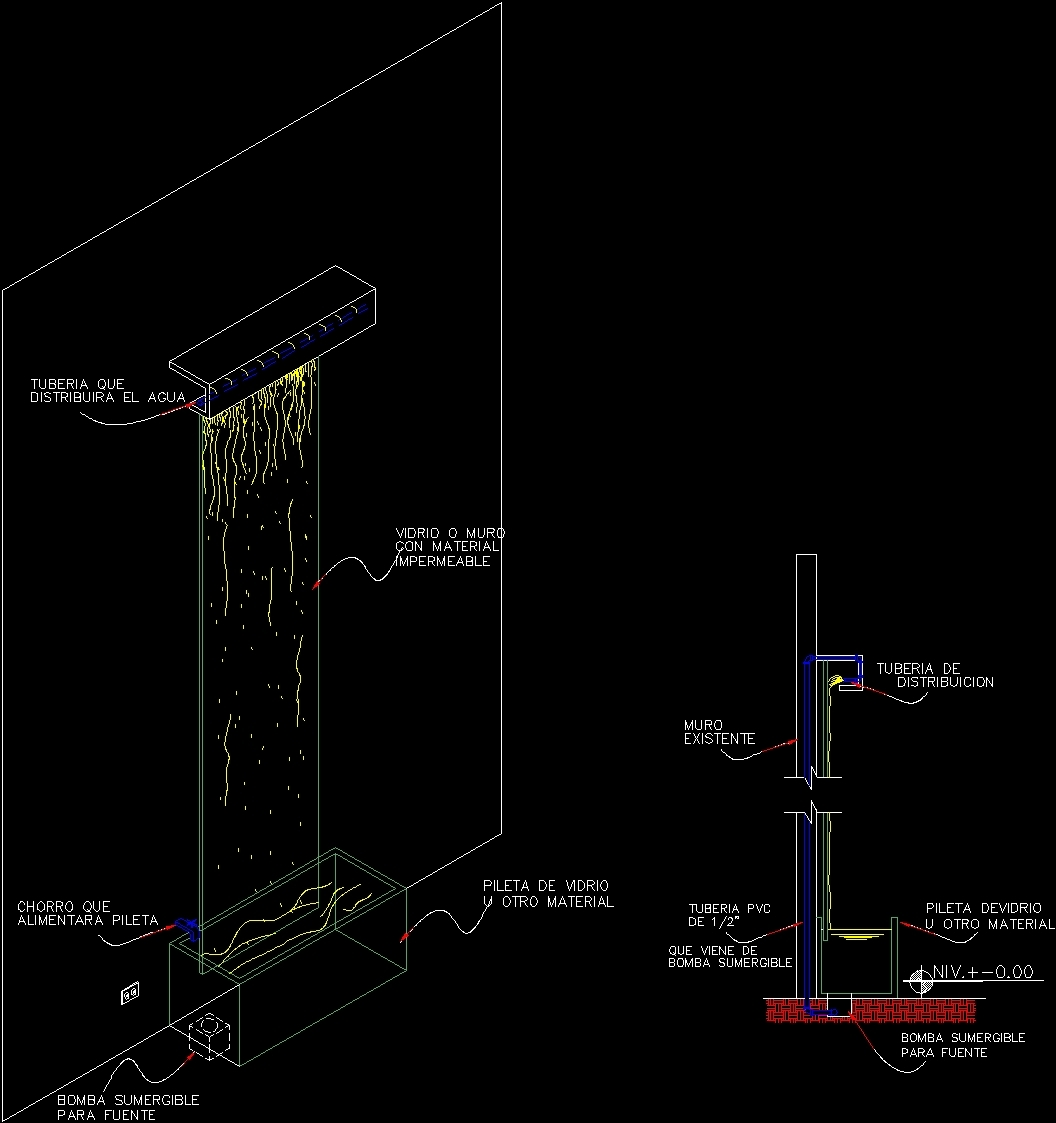 Wall with waterfall dwg block for autocad designs cad for Fountain autocad block