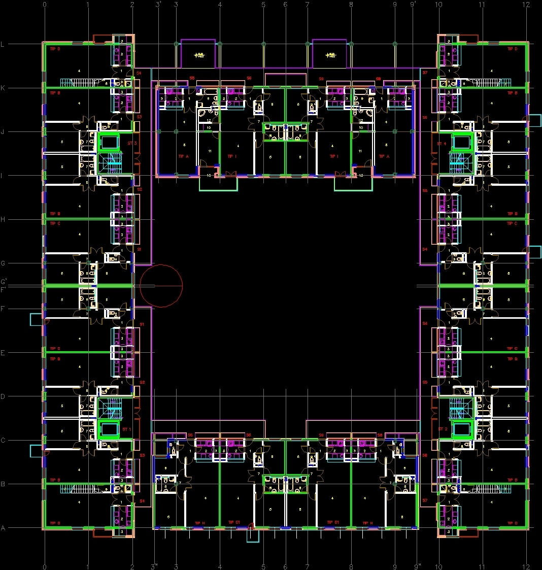 Apartment building nbg dwg block for autocad designs cad for Apartment design autocad
