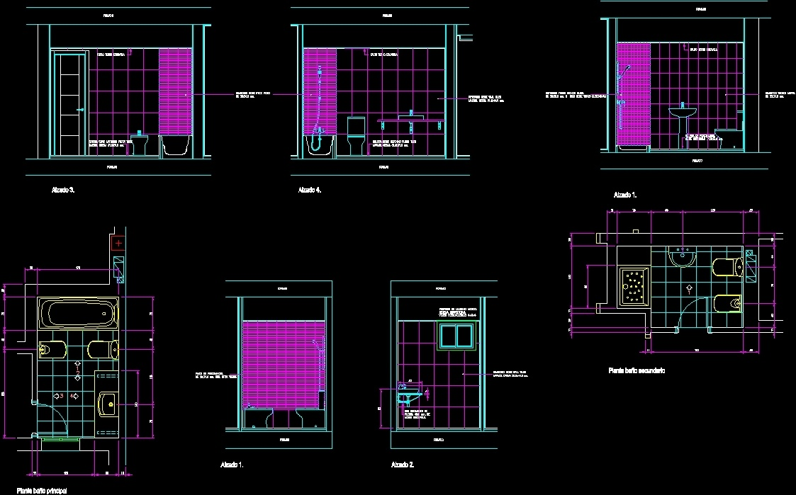 Bathroom Details Dwg Section For Autocad Designs Cad