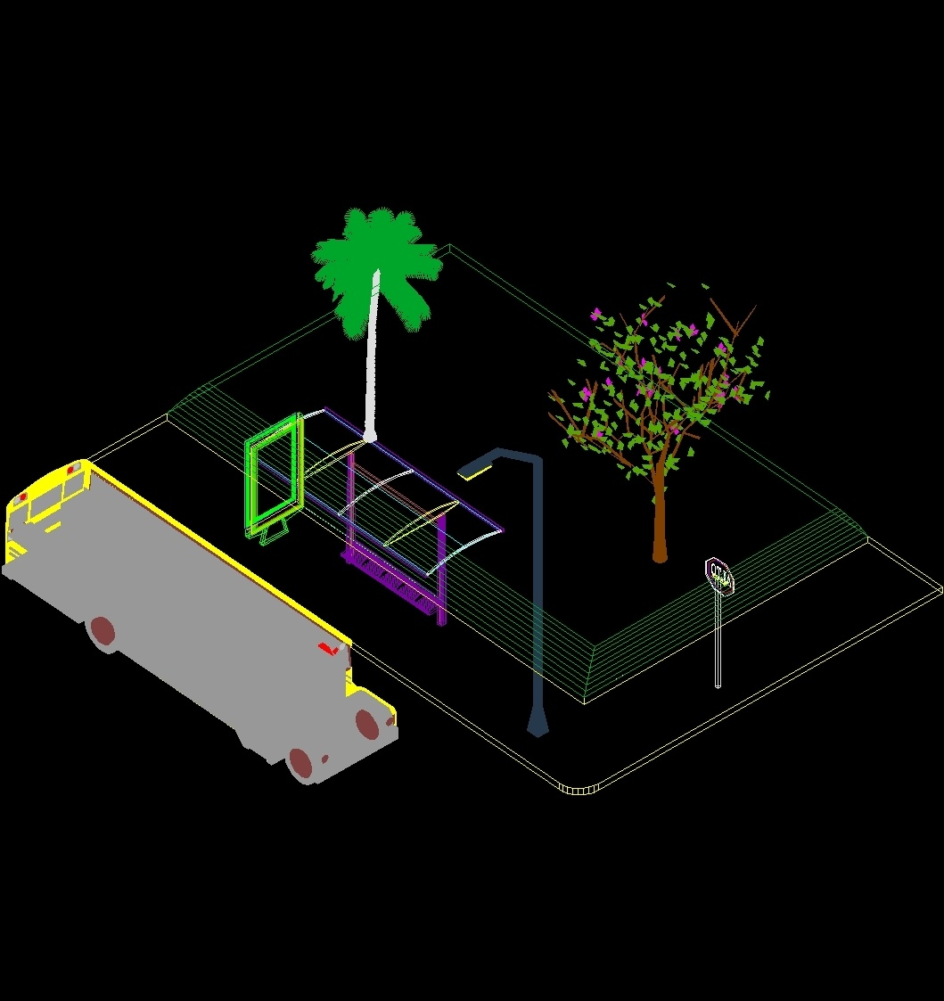 Bus stop 3d dwg full project for autocad designs cad for Sessel 3d dwg
