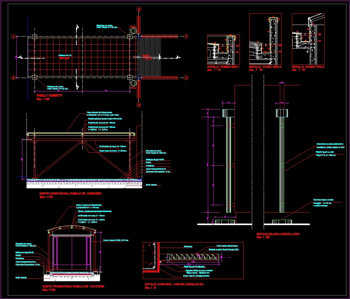 Constructive Sections Mertallic Cover Dwg Section For