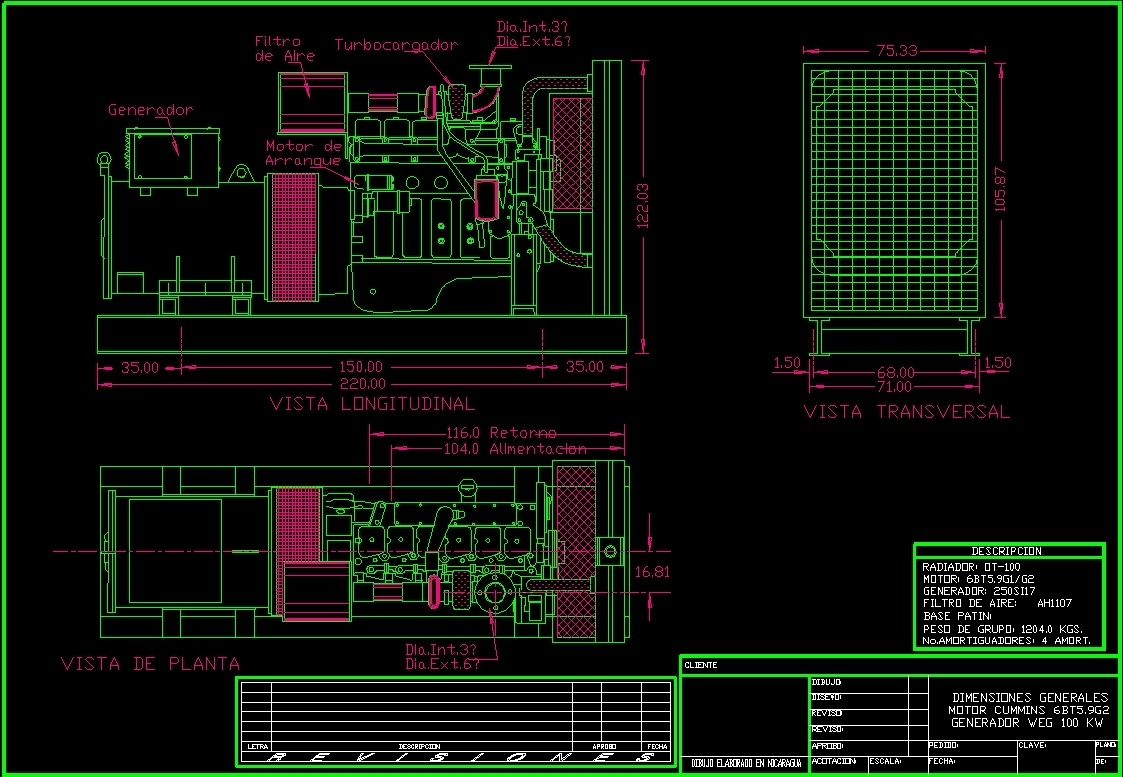 Electrical Generator DWG Block for AutoCAD Designs CAD