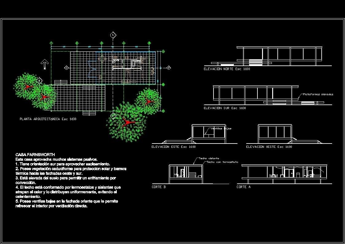 Farnsworth House Plano Il U S A By Mies Van Der Rohe 1951 Dwg  # Muebles Mies Van Der Rohe Autocad