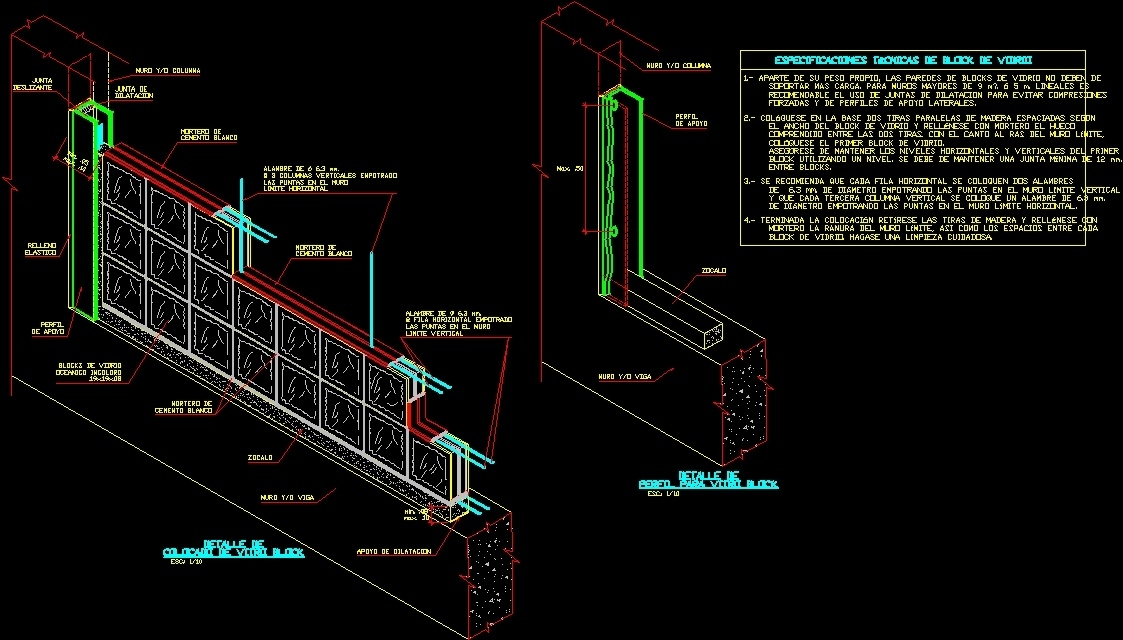 Glass Block Partition DWG Detail for AutoCAD