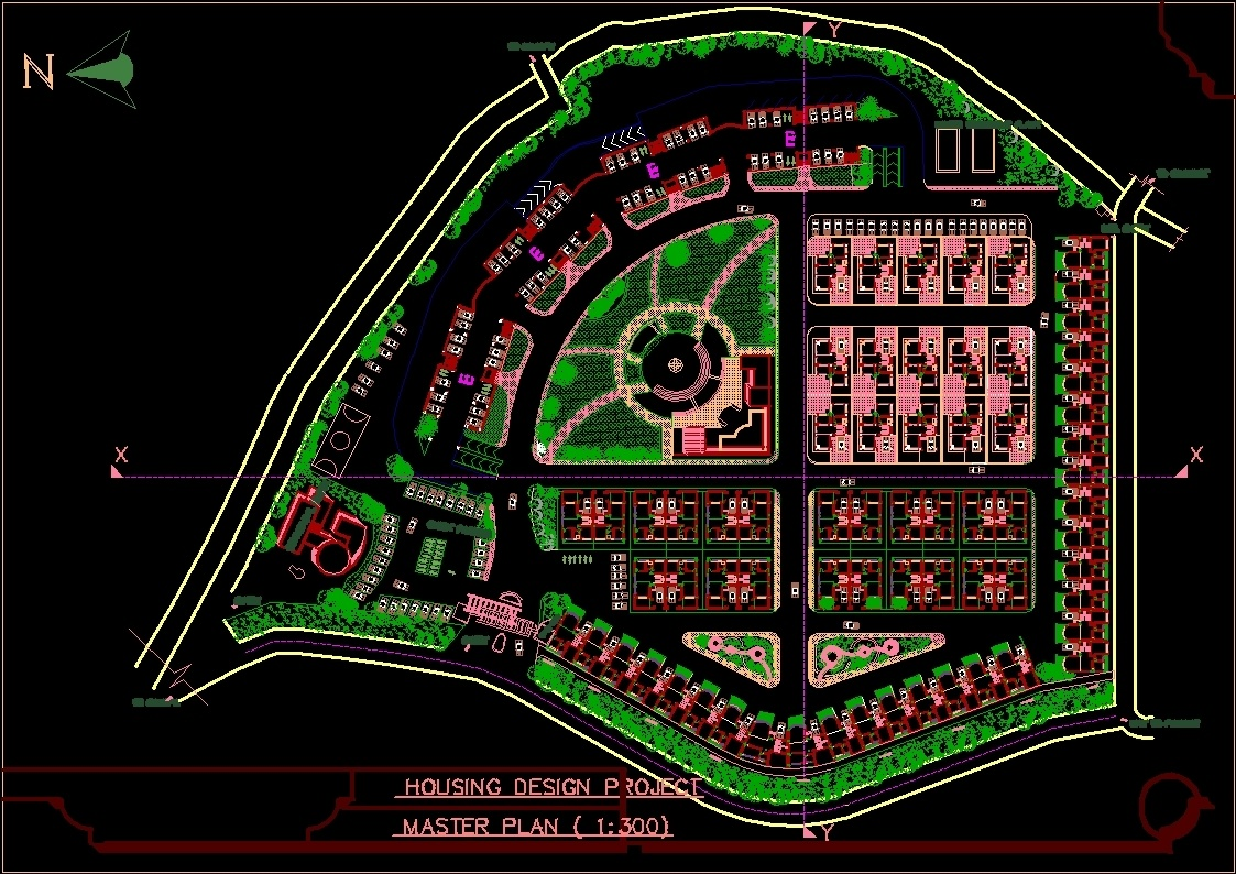 Housing master plan dwg plan for autocad designs cad for Plan cad