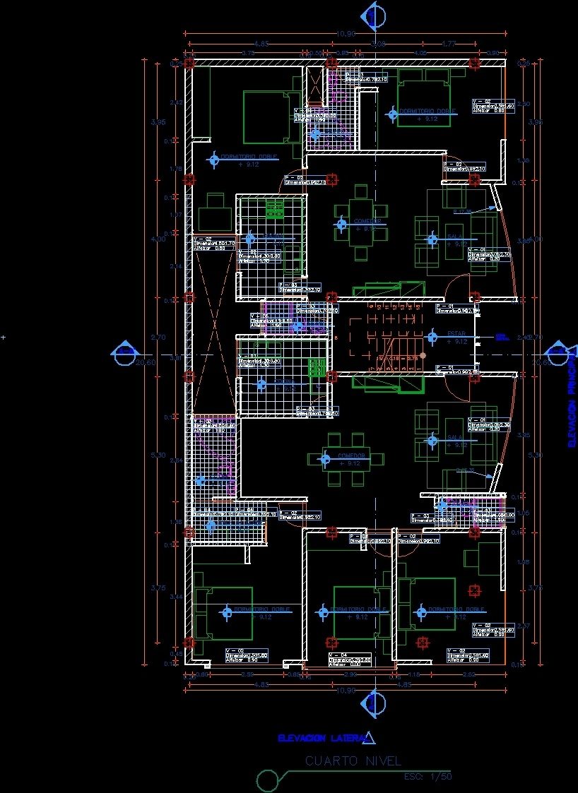 Multifamily apartment house dwg plan for autocad designs cad for Apartment plans dwg format