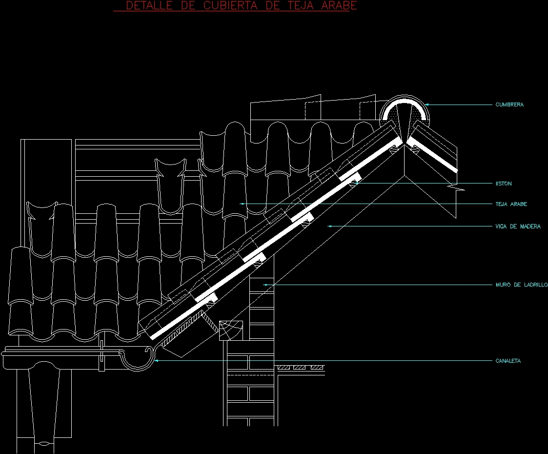 Roof Detail Arabian Tile Dwg Section For Autocad