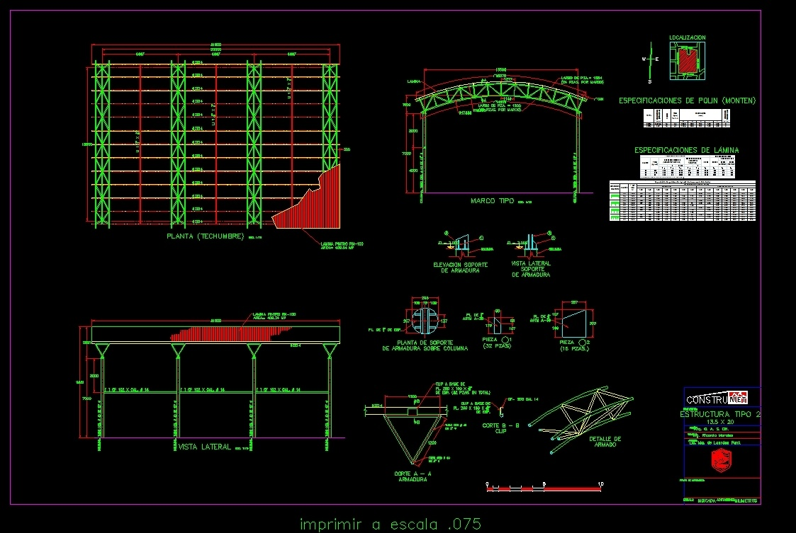 Steel Roof - Details - 20 X 135 DWG Detail for AutoCAD • Designs CAD