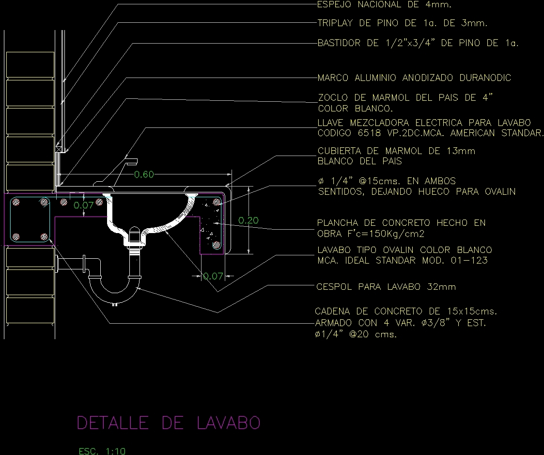 Stipend In Concrete For Wash Basin - Section DWG Section for AutoCAD ...