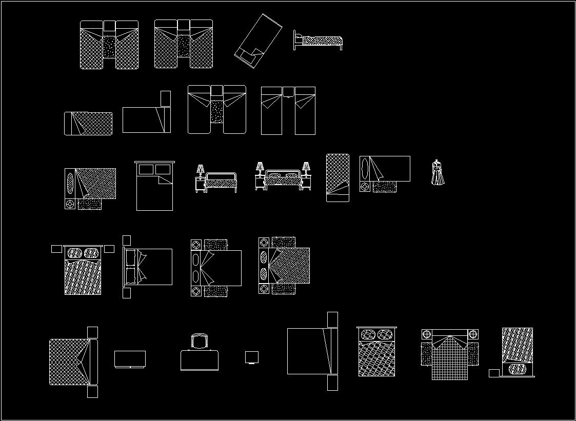 Accessories Bedrooms Beds Dwg Block For Autocad