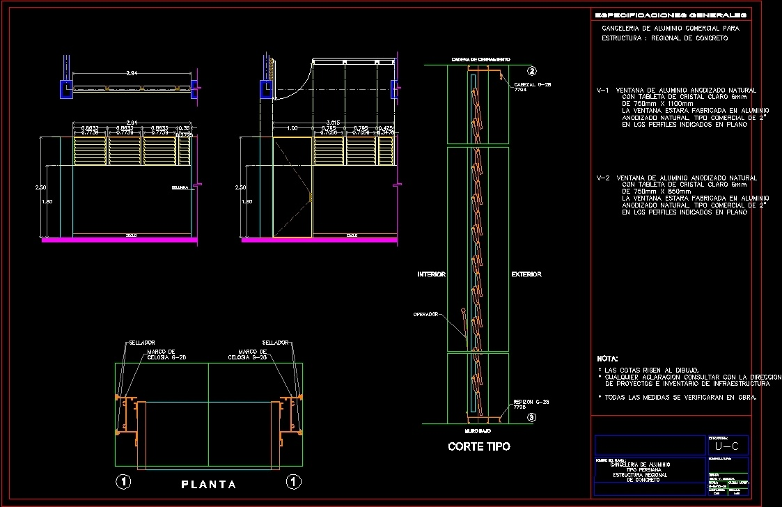 Aluminium louver dwg section for autocad designs cad for Window design autocad