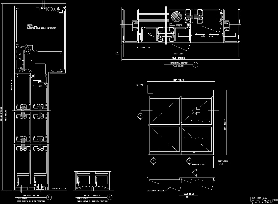 Aluminium Window 2 Panels Dwg Detail For Autocad Designs Cad