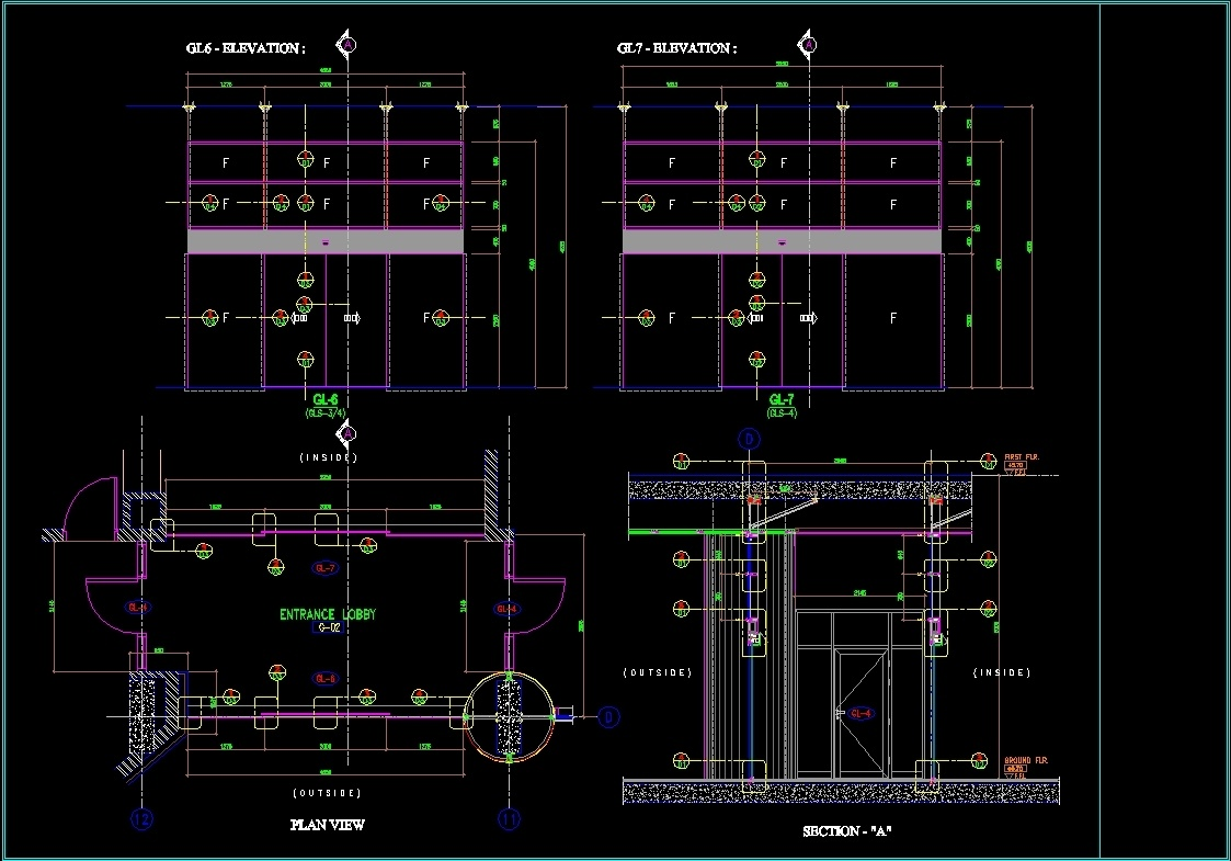 Automatic Doors Details Dwg Detail For Autocad Designs Cad  sc 1 st  Glass Designs & Fixed Glass Detail Dwg - Glass Designs