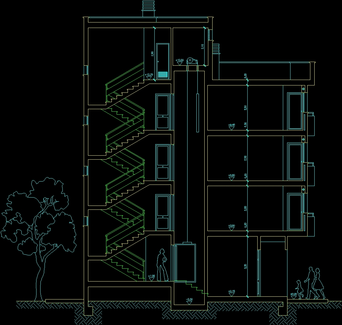 Building Of Housings And Stores Dwg Section For Autocad