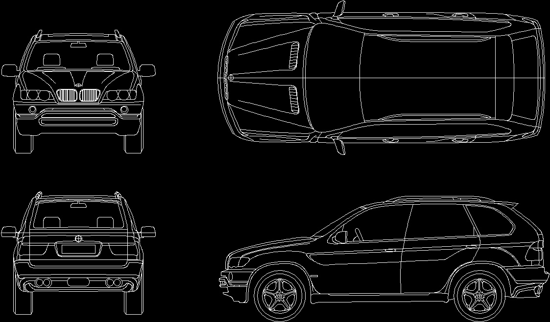 Car bmw x5 2d dwg plan for autocad designs cad for Cad car plan