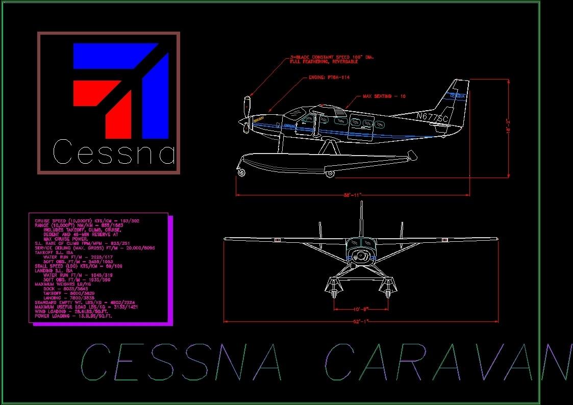Cessna Caravan Aircraft DWG Detail for AutoCAD