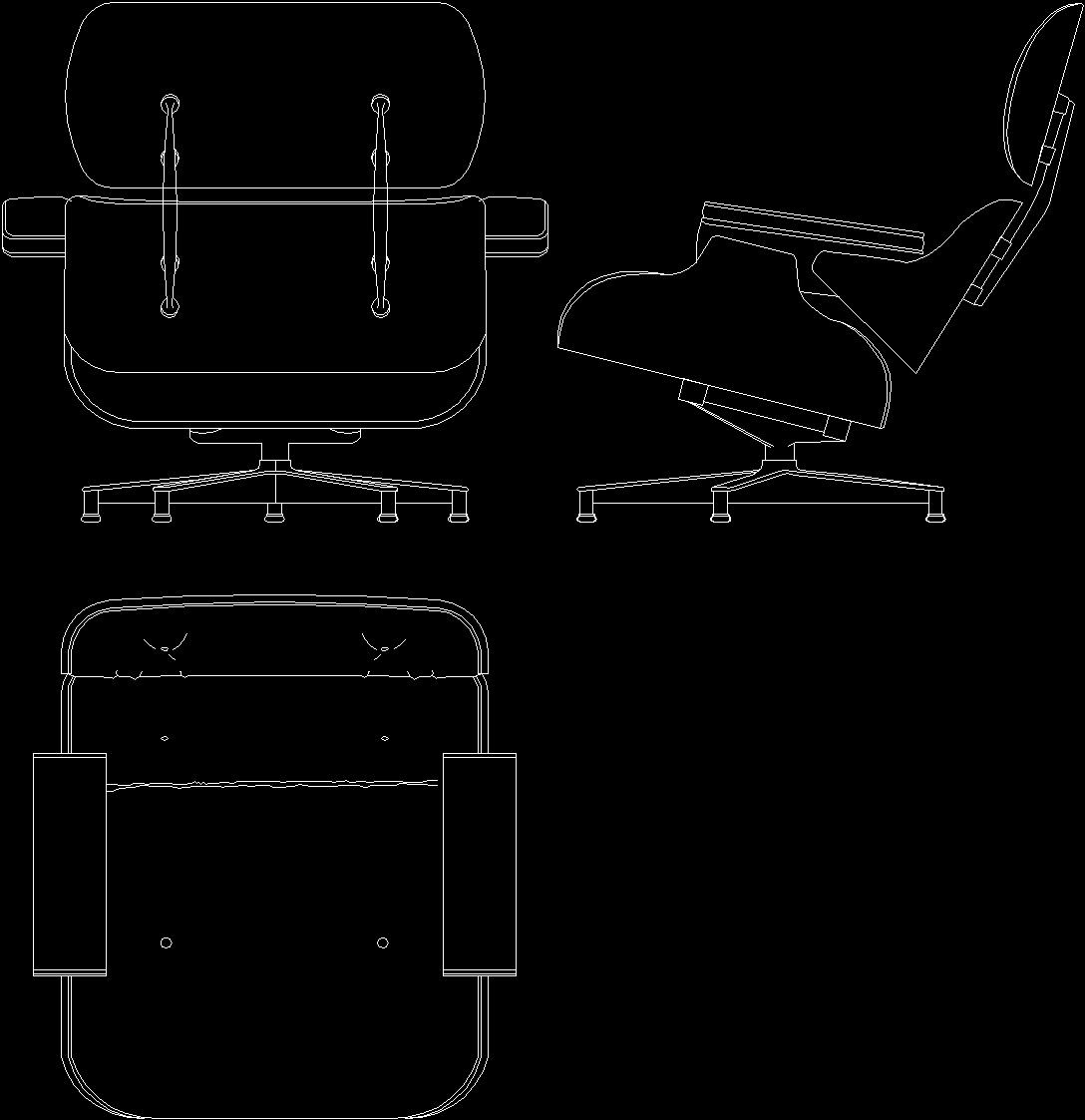 Charles Eames Lounge Chair 1956 Dwg Block For Autocad