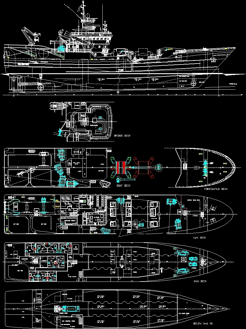 Commercial Fishing Boat Dwg Plan For Autocad Designs Cad