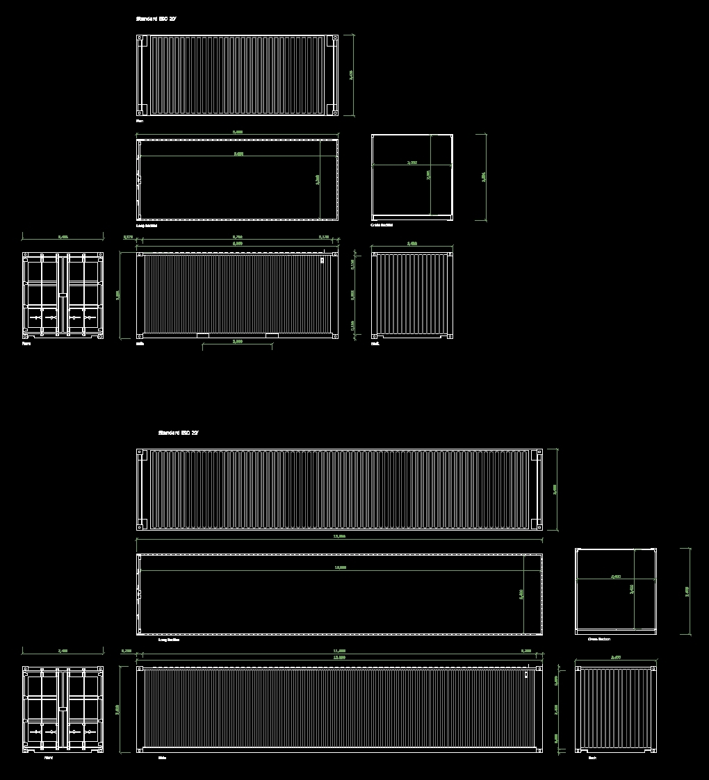 Typical Box Type House Designs 5 20: Containers 20 And 40 Ft DWG Plan For AutoCAD • Designs CAD
