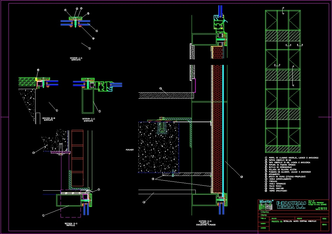 Curtain Wall With Steel Profiles Dwg Section For Autocad
