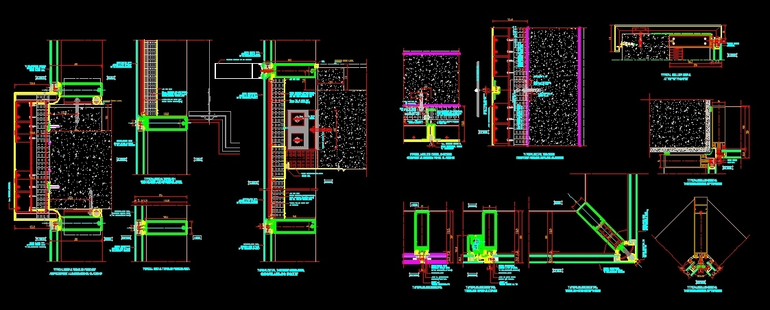 Detailed Aluminum Sections DWG Section for AutoCAD