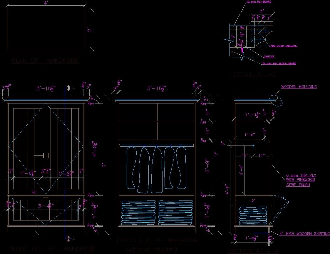 Details Wardrobe Dwg Detail For Autocad Designs Cad
