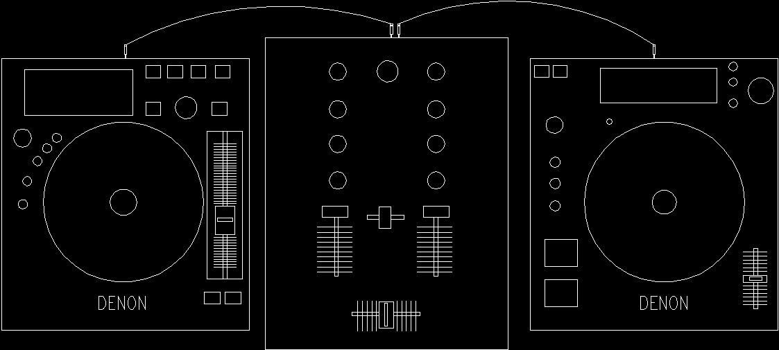 Dj Music Mixer Denon In Block Dwg Block For Autocad