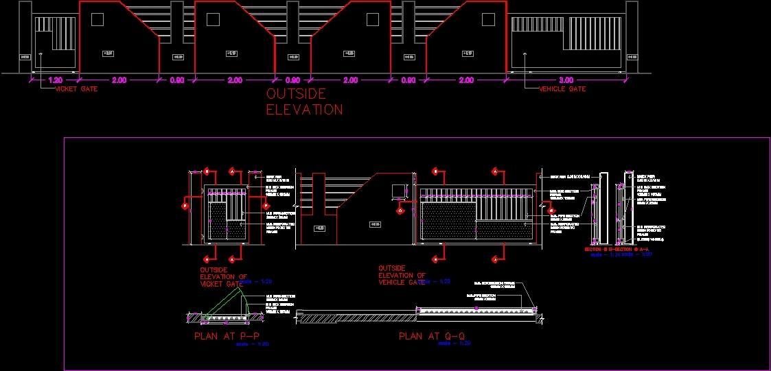 Entrance Gate Dwg Detail For Autocad Designs Cad